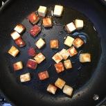 frying the paneer in ghee